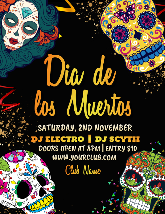 dia de los muertos,Carnival, Masquerade Party Folder (US Letter) template
