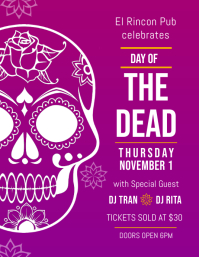 Dia de los Muertos Bar Event Flyer Template Рекламная листовка (US Letter)