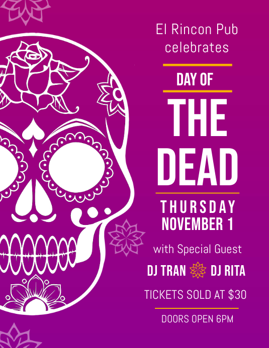 Dia de los Muertos Bar Event Flyer Template Folder (US Letter)