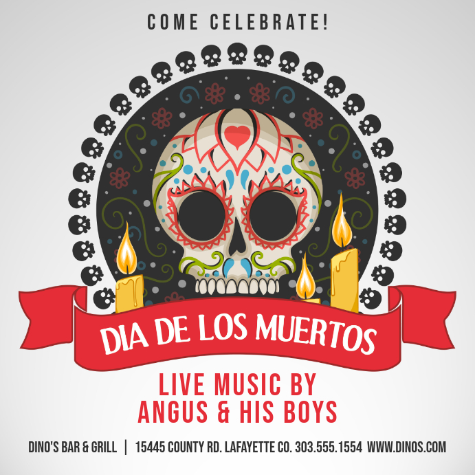 Dia de los Muertos Bar Event Instagram Post Template