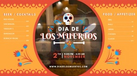 Dia de los Muertos Bar Menu Digital Display