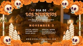 Dia de los Muertos Bar Party Invitation 数字显示屏 (16:9) template