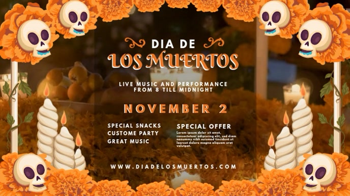 Dia de los Muertos Bar Party Invitation Digital na Display (16:9) template