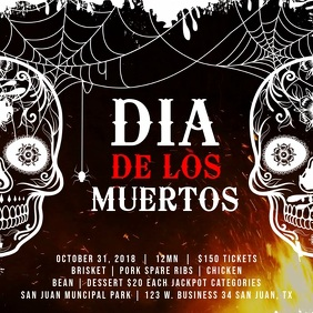 Dia de los Muertos Bonfire Event Video Ad Template โพสต์บน Instagram