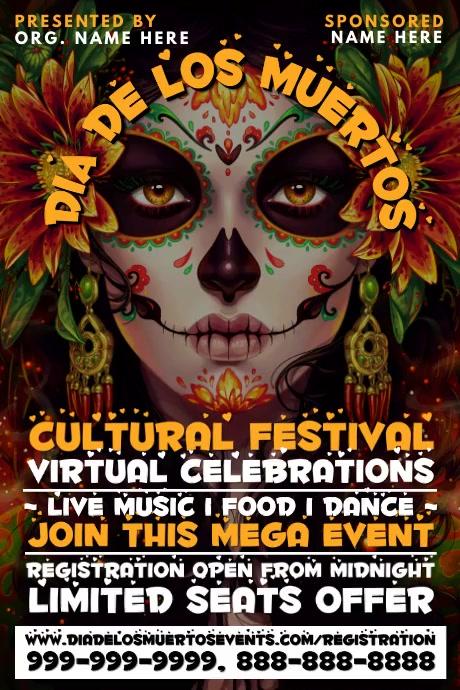Dia De Los Muertos Cultural Event Template Poster