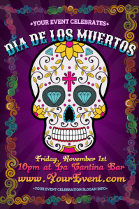 Dia de los Muertos Day of Dead Halloween Sugar Skull Retro