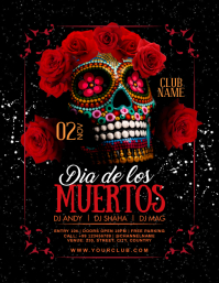 Dia De Los Muertos Dj Night Poster Template Flyer (format US Letter)