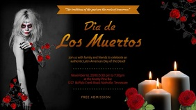 Dia de los Muertos Event Invitation Video Ad 数字显示屏 (16:9) template