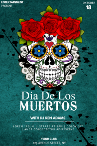 Dia de los muertos event party flyer template Cartaz