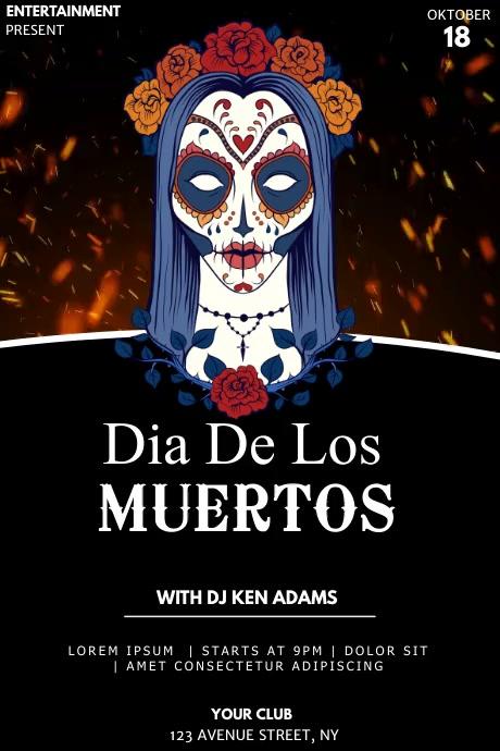 Dia de los muertos event party flyer template