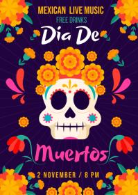 Dia De Los Muertos Event Poster Template A6