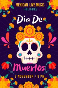 Dia De Los Muertos Event Poster Template โปสเตอร์