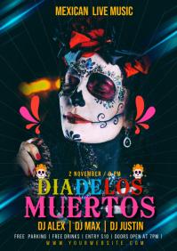 Dia De Los Muertos Event Poster Template A5