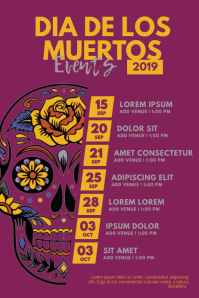 dia de los muertos Events Schedule Flyer Cartaz template