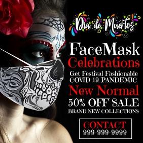 Dia de los Muertos Face Mask Sale Template สี่เหลี่ยมจัตุรัส (1:1)