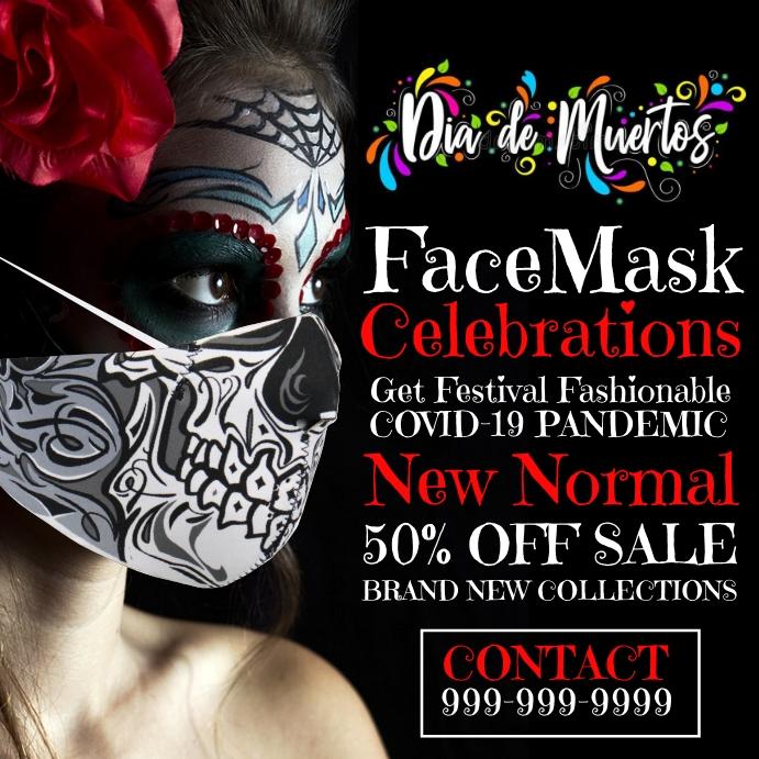 Dia de los Muertos Face Mask Sale Template Vierkant (1:1)