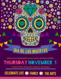 Dia de los Muertos Family Event Invitation Flyer Template