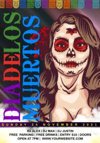 Dia de los muertos flyer A4 template