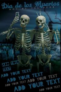 Dia de los Muertos Halloween Day of The Dead Skeleton Selfie