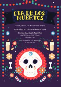 Dia de los Muertos Invitation Template A4