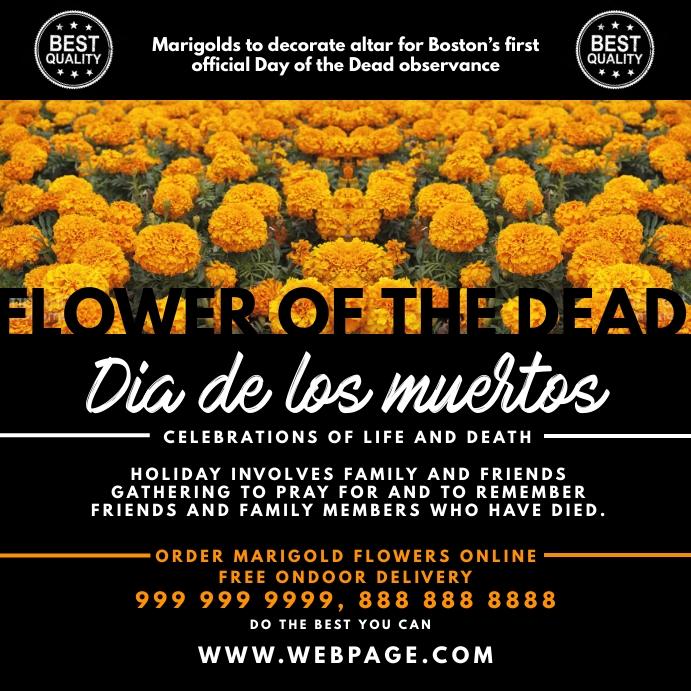 Dia de los muertos Marigold Flower Template Pos Instagram