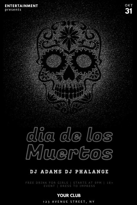 dia de los muertos party flyer template neon
