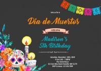 Dia de los Muertos party invitation A6 template