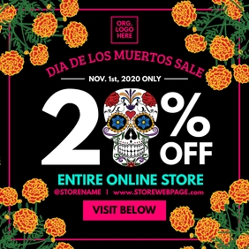 Dia De Los Muertos Sale Post Template Kvadrat (1:1)