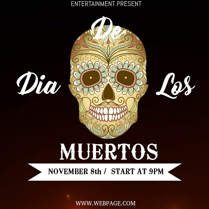Dia de los muertos video flyer template Persegi (1:1)