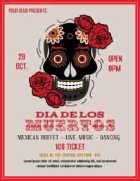 Dia de los Muertos vintage flyer template