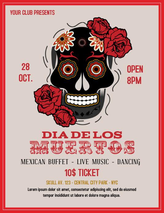 Dia de los Muertos vintage flyer template Pamflet (Letter AS)