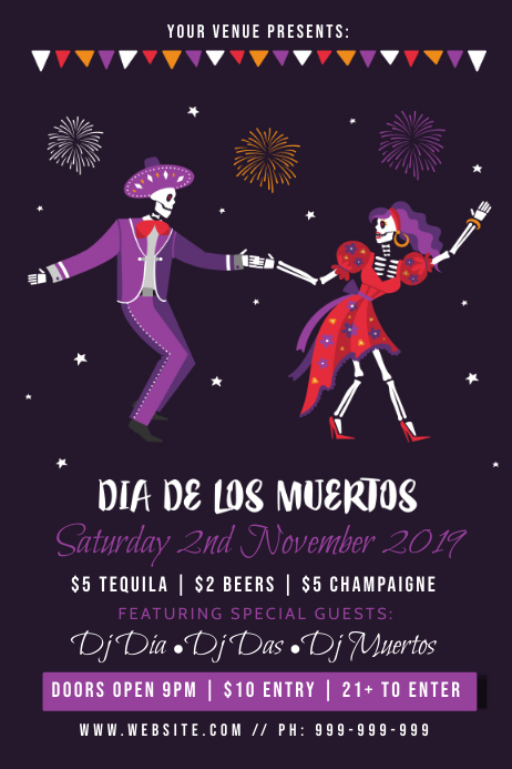 Dia De Muertos Poster template