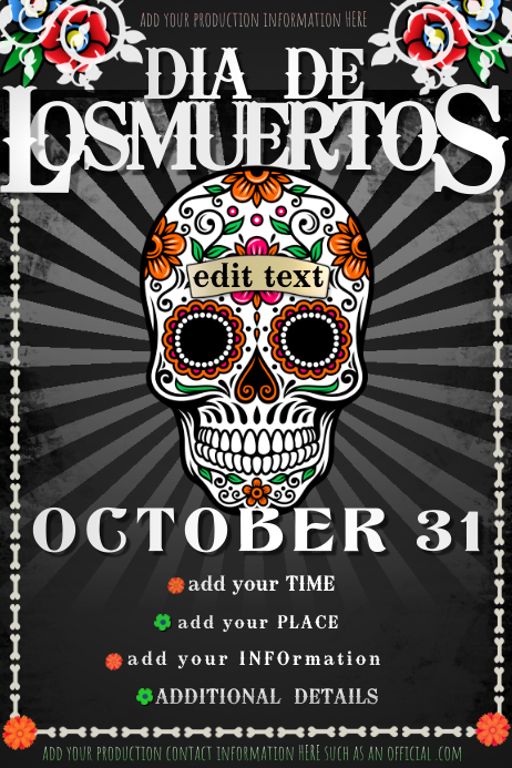 Dia Los Muertos Day Dead Event Party Halloween Bar Skull DJ