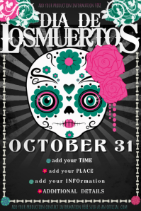 Dia Los Muertos Day Dead Event Party Halloween Costume Skull