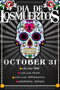 Dia Muertos Day Dead Fall Party Halloween Costume Skull