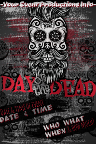 Dia Muertos Day Dead Hipster Skull Sugar Halloween Party