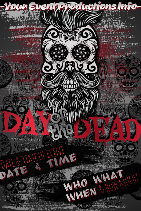 Dia Muertos Day Dead Hipster Skull Sugar Halloween Party