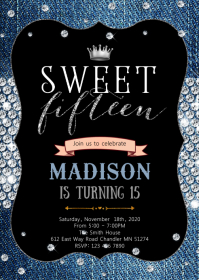 Diamond and denim 15th birthday invitation A6 template