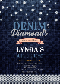 Diamond and denim birthday invitation A6 template