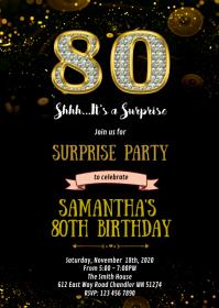 Diamond gold black theme invitation A6 template