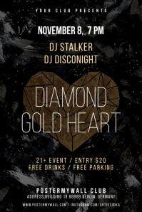 Diamond Gold Heart Dark Music Poster