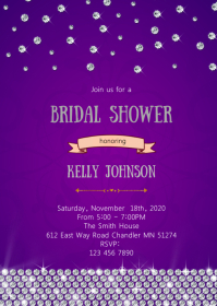 Diamond purple silver theme invitation A6 template