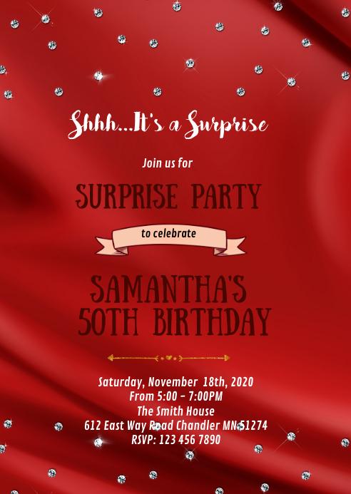 Diamond red theme invitation