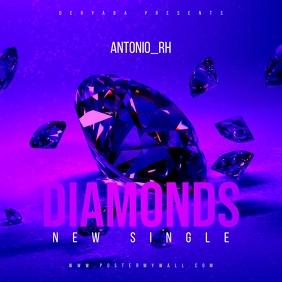 Diamonds Purple Mixtape Music CD Cover template