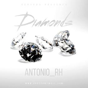 Diamonds White Silver Music CD Cover template