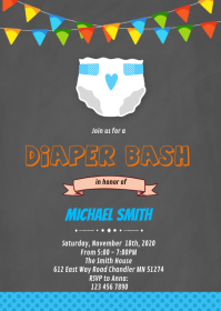 Diaper boy bash invitation