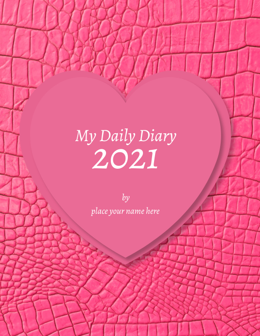 """Diary cover template """"My Daily dairy 2021"""" Flyer (US Letter)"""