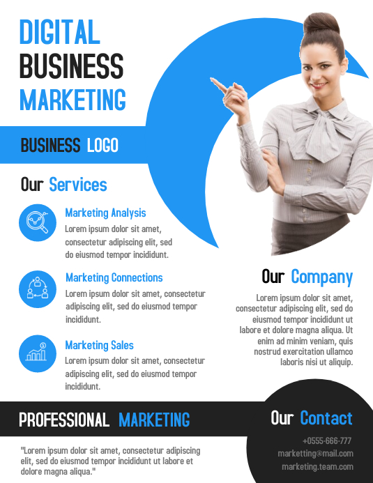 Digital marketing business flyer template design