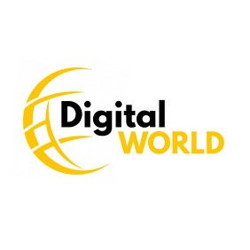 Digital world black and yellow logo template