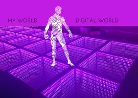 Digital world template design 明信片